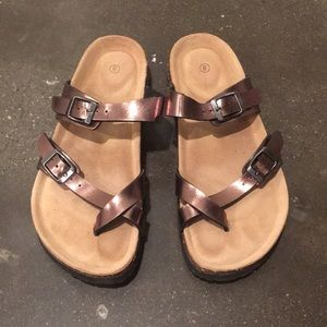 Metallic brown gold sandals